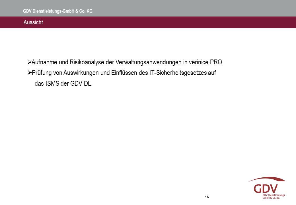 16 Aussicht  Aufnahme und Risikoanalyse der Verwaltungsanwendungen in verinice.PRO.  Prüfung von Auswirkungen und Einflüssen des IT-Sicherheitsgeset