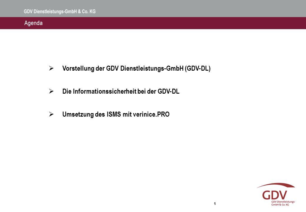 1  Vorstellung der GDV Dienstleistungs-GmbH (GDV-DL)  Die Informationssicherheit bei der GDV-DL  Umsetzung des ISMS mit verinice.PRO Agenda