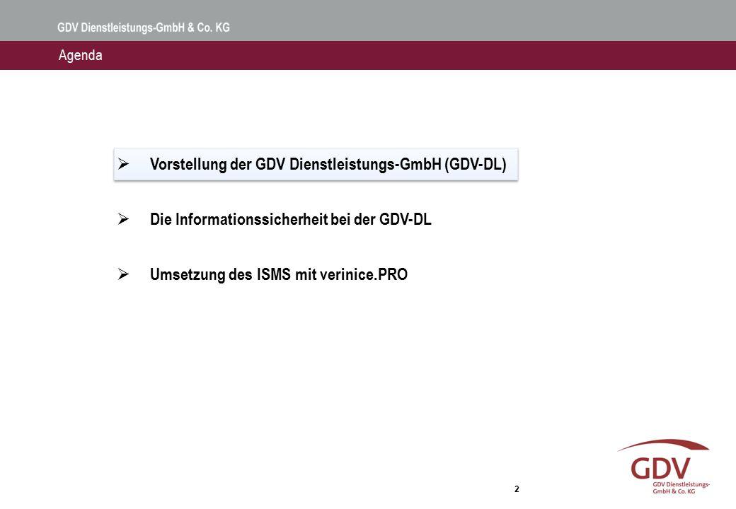 2  Vorstellung der GDV Dienstleistungs-GmbH (GDV-DL)  Die Informationssicherheit bei der GDV-DL  Umsetzung des ISMS mit verinice.PRO Agenda