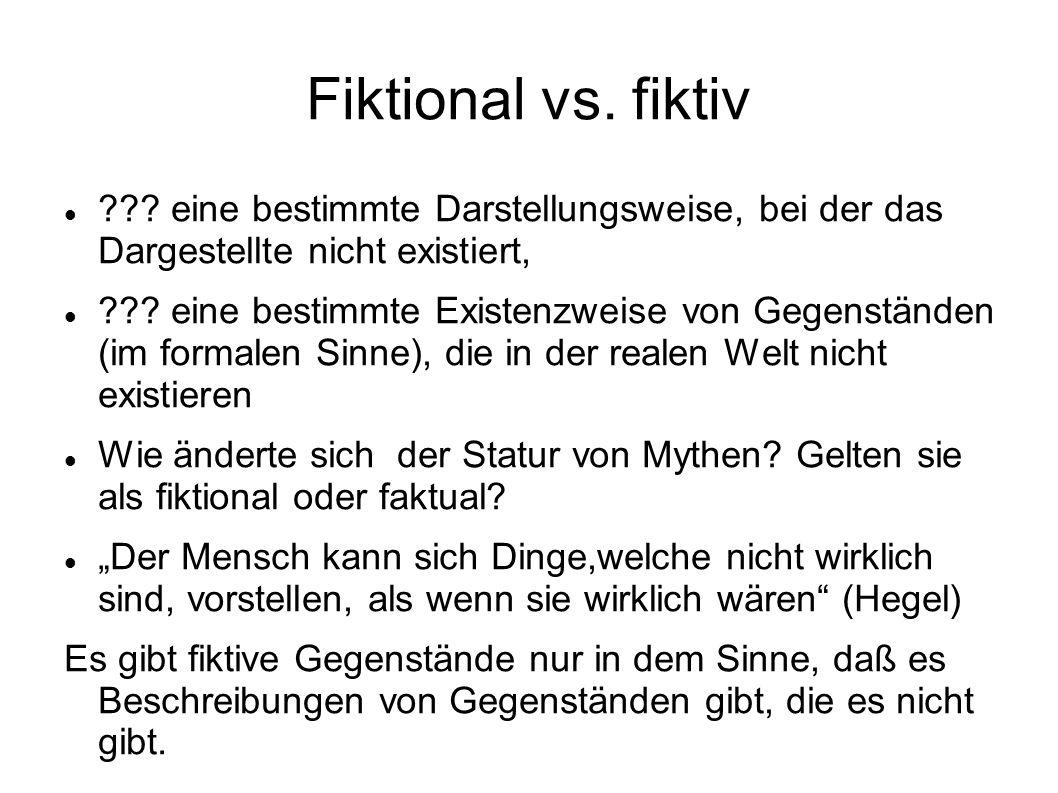 Fiktional vs. fiktiv ??? eine bestimmte Darstellungsweise, bei der das Dargestellte nicht existiert, ??? eine bestimmte Existenzweise von Gegenständen