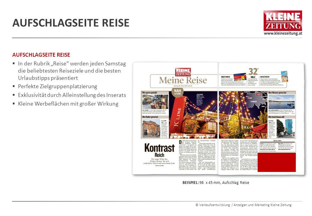 """© Verkaufsentwicklung / Anzeigen und Marketing Kleine Zeitung AUFSCHLAGSEITE REISE  In der Rubrik """"Reise"""" werden jeden Samstag die beliebtesten Reise"""