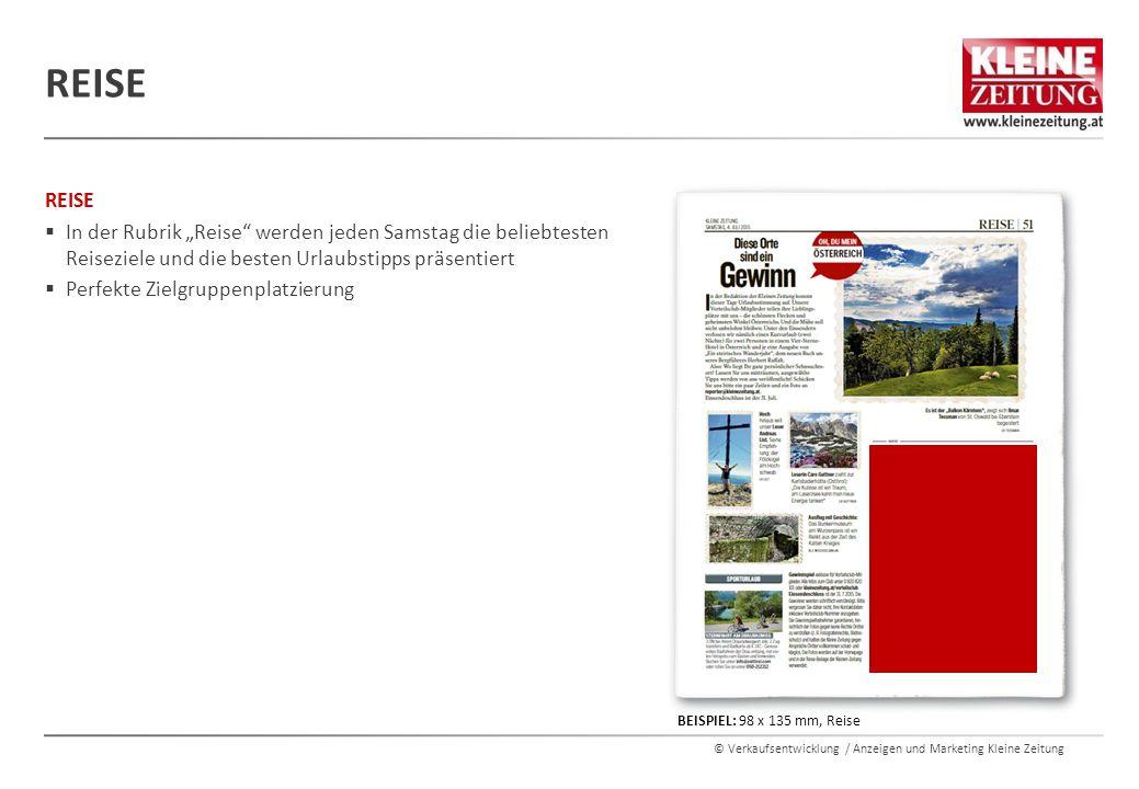 """© Verkaufsentwicklung / Anzeigen und Marketing Kleine Zeitung REISE  In der Rubrik """"Reise"""" werden jeden Samstag die beliebtesten Reiseziele und die b"""