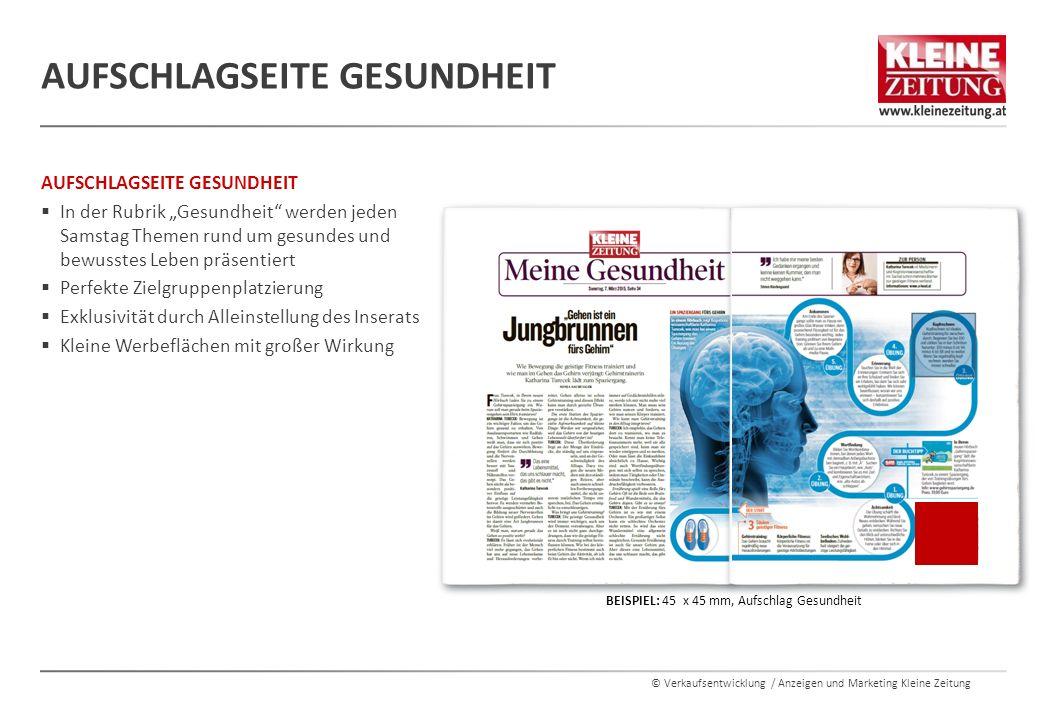 """© Verkaufsentwicklung / Anzeigen und Marketing Kleine Zeitung AUFSCHLAGSEITE GESUNDHEIT  In der Rubrik """"Gesundheit"""" werden jeden Samstag Themen rund"""