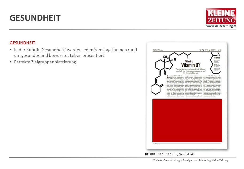 """© Verkaufsentwicklung / Anzeigen und Marketing Kleine Zeitung GESUNDHEIT  In der Rubrik """"Gesundheit"""" werden jeden Samstag Themen rund um gesundes und"""