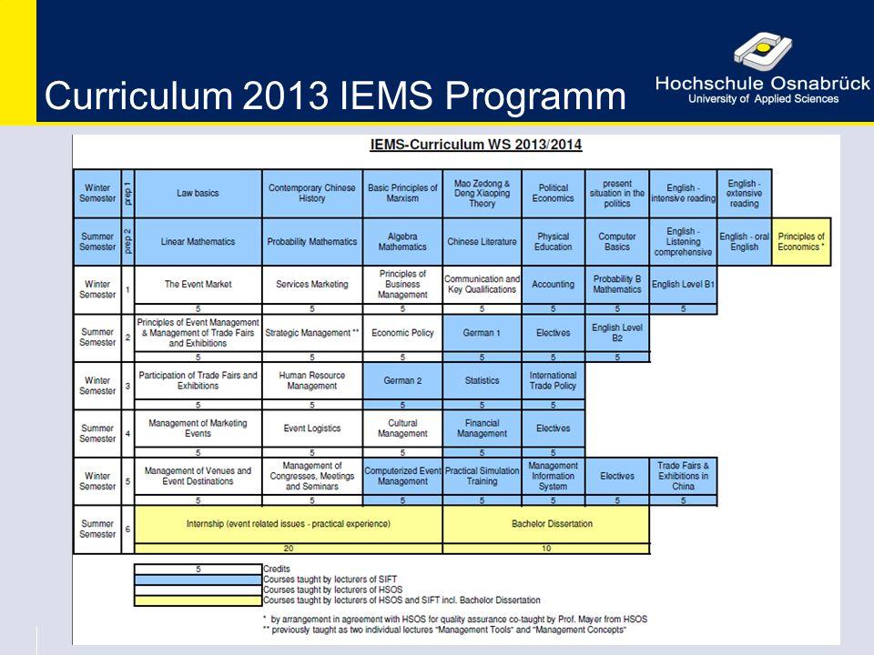 Curriculum 2013 IEMS Programm