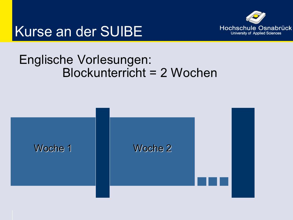 Kurse an der SUIBE Englische Vorlesungen: Blockunterricht = 2 Wochen Woche 1 Woche 2