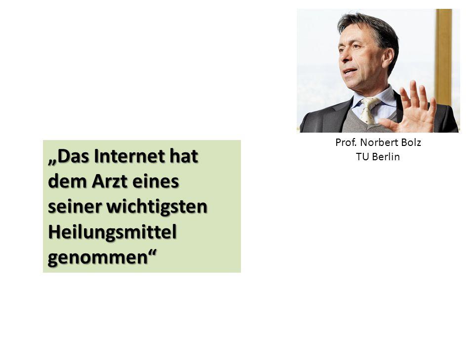 """""""Das Internet hat dem Arzt eines seiner wichtigsten Heilungsmittel genommen"""" Prof. Norbert Bolz TU Berlin"""