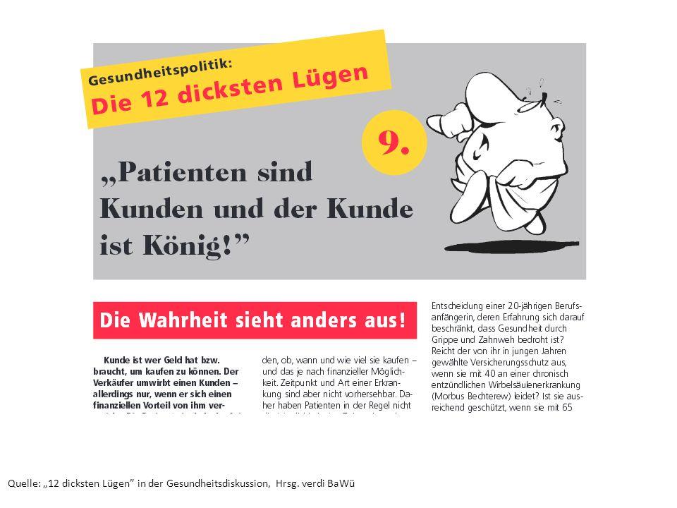 """Quelle: """"12 dicksten Lügen"""" in der Gesundheitsdiskussion, Hrsg. verdi BaWü"""