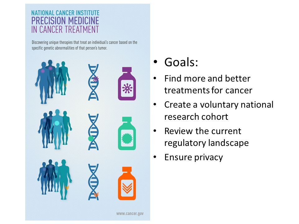Goals: Find more and better treatments for cancer Create a voluntary national research cohort Review the current regulatory landscape Ensure privacy