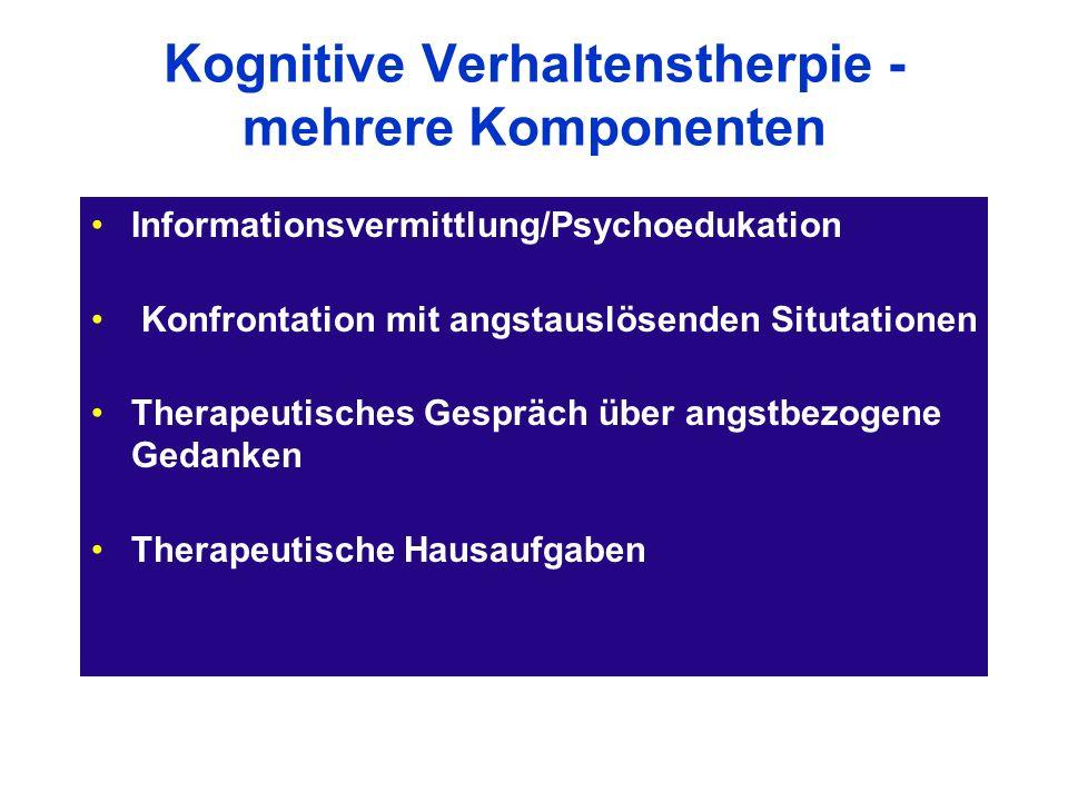 Kognitive Verhaltenstherpie - mehrere Komponenten Informationsvermittlung/Psychoedukation Konfrontation mit angstauslösenden Situtationen Therapeutisc