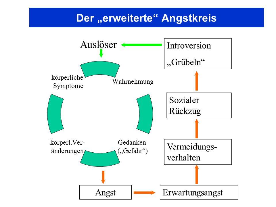 """Der """"erweiterte"""" Angstkreis Wahrnehmung Gedanken (""""Gefahr"""") körperl.Ver- änderungen körperliche Symptome Auslöser AngstErwartungsangst Vermeidungs- ve"""