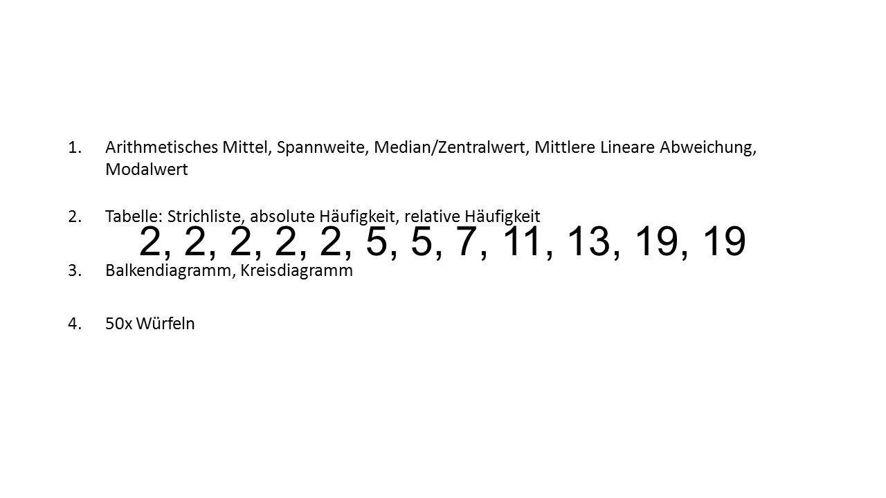 2, 2, 2, 2, 2, 5, 5, 7, 11, 13, 19, 19 1.Arithmetisches Mittel, Spannweite, Median/Zentralwert, Mittlere Lineare Abweichung, Modalwert 2.Tabelle: Stri