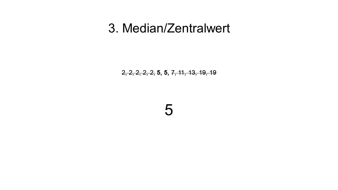 3. Median/Zentralwert 2, 2, 2, 2, 2, 5, 5, 7, 11, 13, 19, 19 5