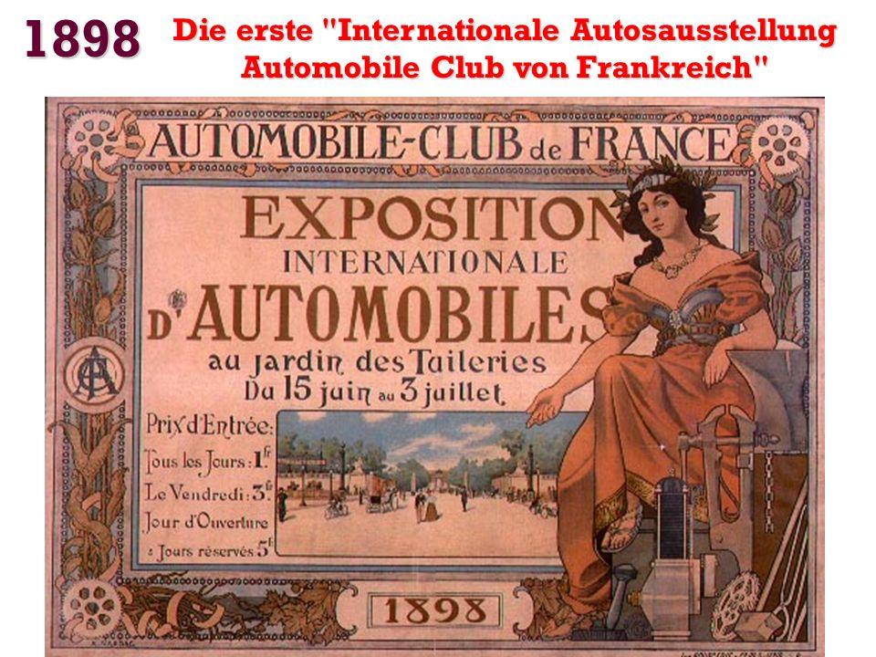 1898 Erste Geschwindigkeitsrekord Gaston Chasseloup-Laubat erreicht 63,15 km / h auf Elektro- Jeantaud