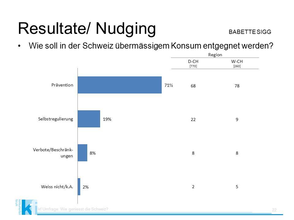 Resultate/ Nudging BABETTE SIGG Wie soll in der Schweiz übermässigem Konsum entgegnet werden.