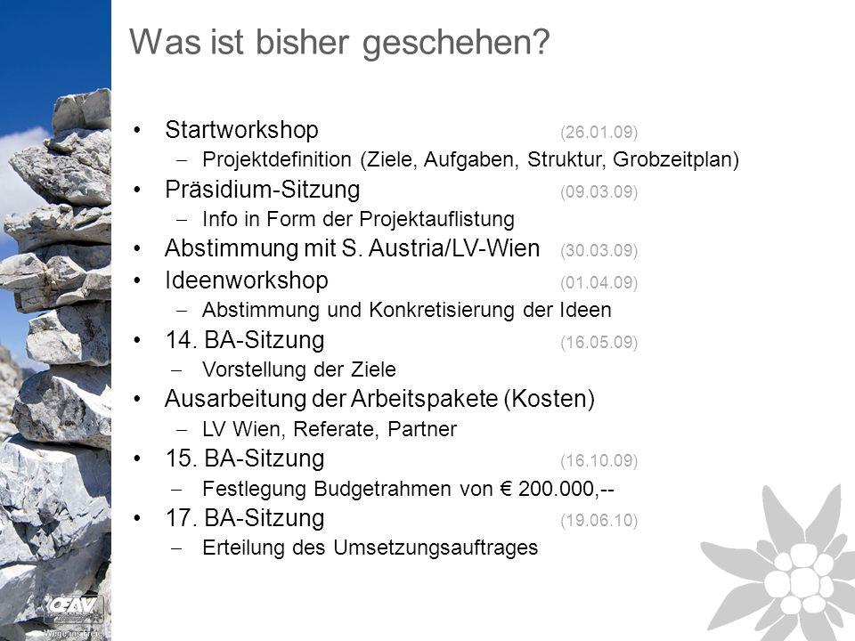 Startworkshop (26.01.09)  Projektdefinition (Ziele, Aufgaben, Struktur, Grobzeitplan) Präsidium-Sitzung (09.03.09)  Info in Form der Projektauflistung Abstimmung mit S.