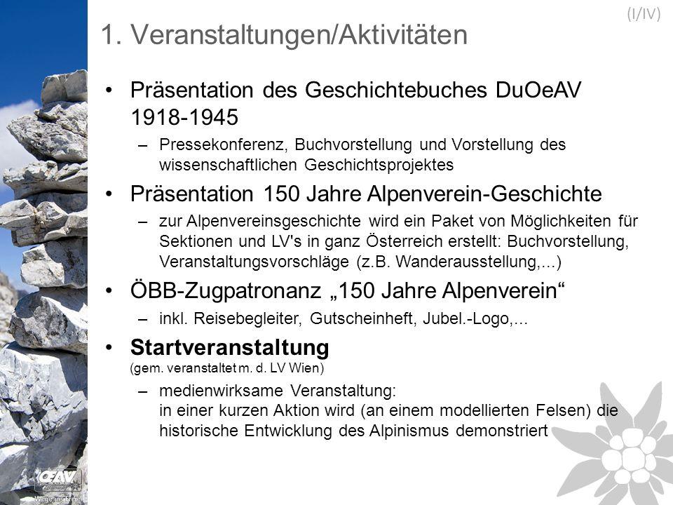1. Veranstaltungen/Aktivitäten Präsentation des Geschichtebuches DuOeAV 1918-1945 –Pressekonferenz, Buchvorstellung und Vorstellung des wissenschaftli