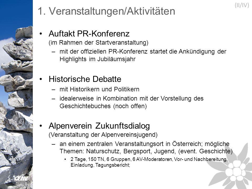 1. Veranstaltungen/Aktivitäten Auftakt PR-Konferenz (im Rahmen der Startveranstaltung) –mit der offiziellen PR-Konferenz startet die Ankündigung der H