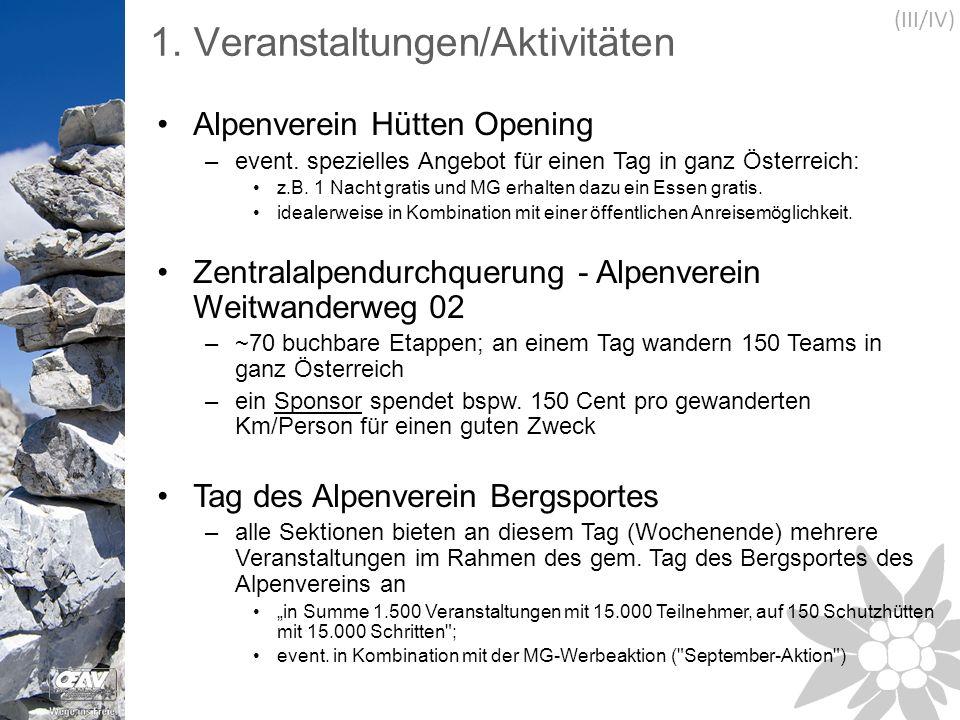 1. Veranstaltungen/Aktivitäten Alpenverein Hütten Opening –event.
