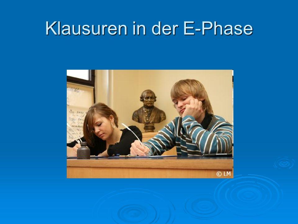  1.Klausurphase beginnt am 14.09.2015  Klausuren zunächst nur in D, M, Fremdspr.