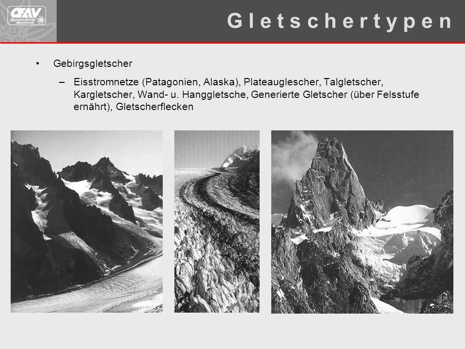 Gebirgsgletscher –Eisstromnetze (Patagonien, Alaska), Plateauglescher, Talgletscher, Kargletscher, Wand- u. Hanggletsche, Generierte Gletscher (über F