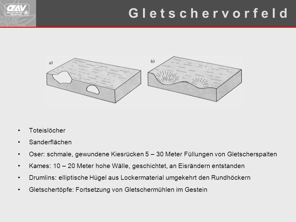 Toteislöcher Sanderflächen Oser: schmale, gewundene Kiesrücken 5 – 30 Meter Füllungen von Gletscherspalten Kames: 10 – 20 Meter hohe Wälle, geschichte