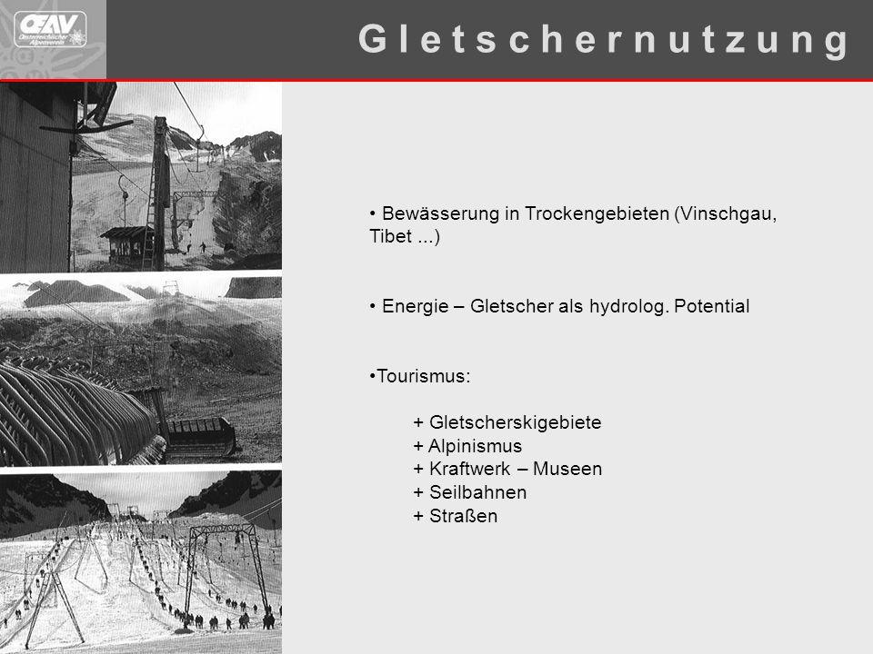 Bewässerung in Trockengebieten (Vinschgau, Tibet...) Energie – Gletscher als hydrolog. Potential Tourismus: + Gletscherskigebiete + Alpinismus + Kraft
