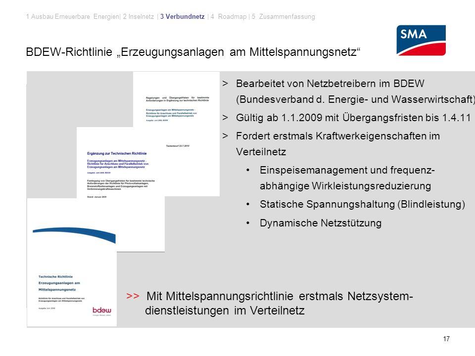 """17 BDEW-Richtlinie """"Erzeugungsanlagen am Mittelspannungsnetz > Bearbeitet von Netzbetreibern im BDEW (Bundesverband d."""
