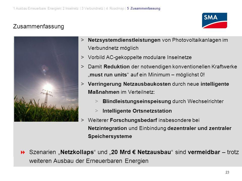 """23 Zusammenfassung > Netzsystemdienstleistungen von Photovoltaikanlagen im Verbundnetz möglich > Vorbild AC-gekoppelte modulare Inselnetze > Damit Reduktion der notwendigen konventionellen Kraftwerke """"must run units auf ein Minimum – möglichst 0."""