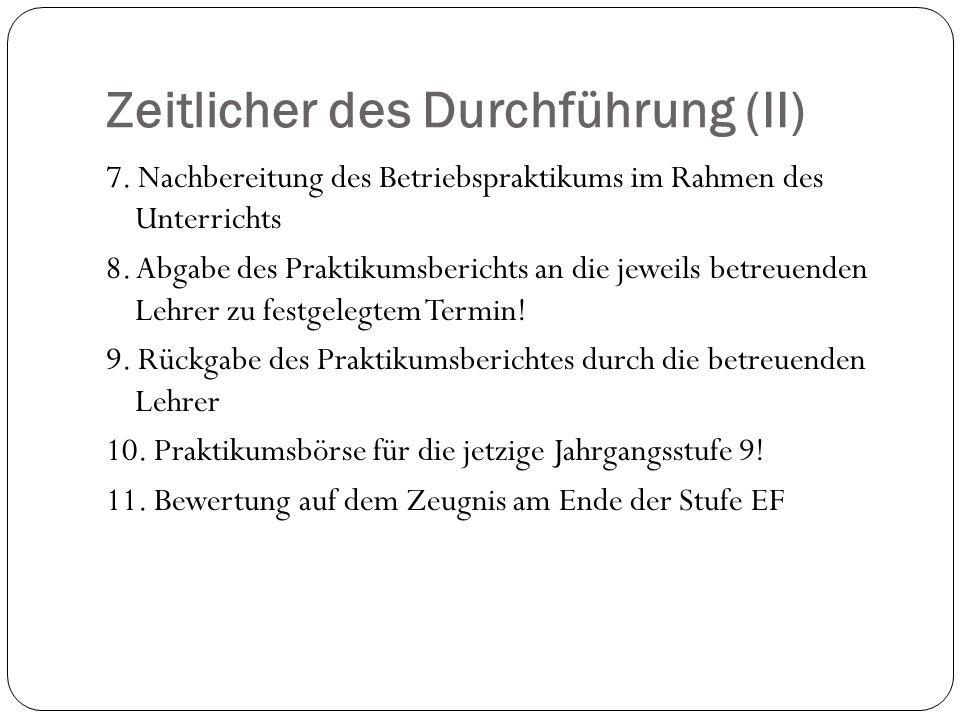Zeitlicher des Durchführung (II) 7.