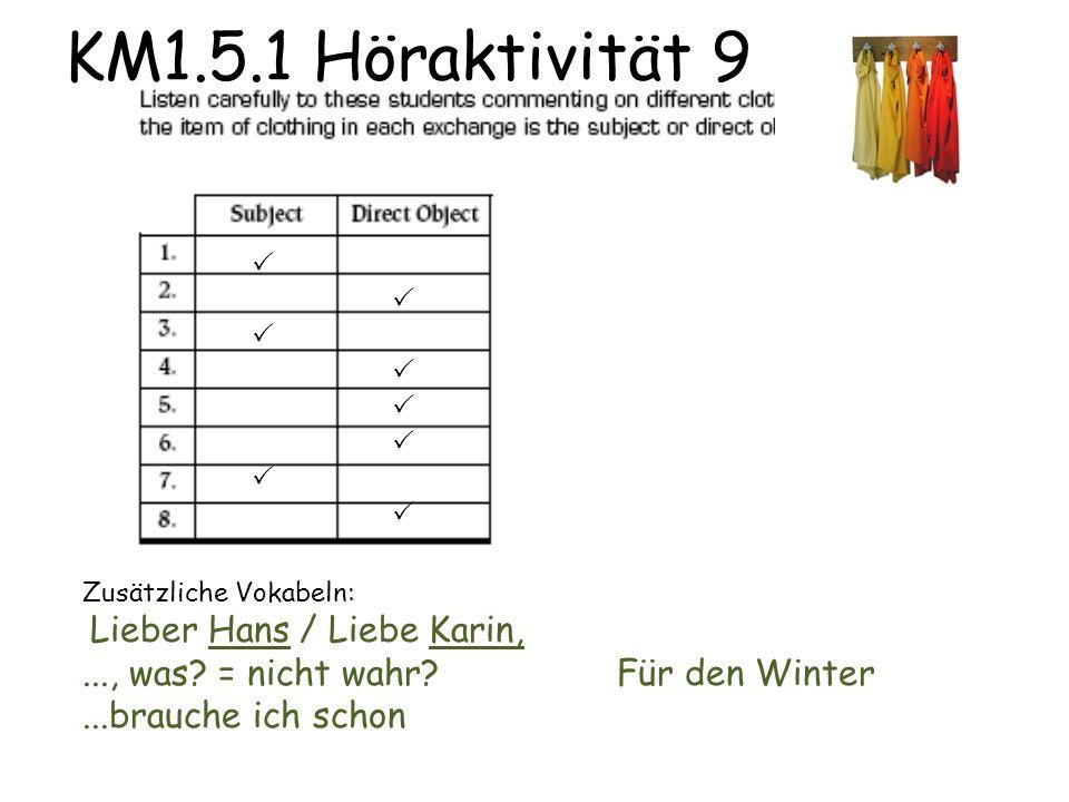 KM1.5.1 Höraktivität 9  Zusätzliche Vokabeln: Lieber Hans / Liebe Karin,..., was.
