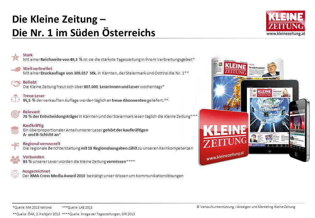 © Verkaufsunterstützung / Anzeigen und Marketing Kleine Zeitung Die Kleine Zeitung – Die Nr. 1 im Süden Österreichs Ausgezeichnet Der XMA Cross Media
