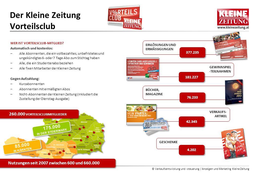 © Verkaufsentwicklung und -steuerung / Anzeigen und Marketing Kleine Zeitung WER IST VORTEILSCLUB-MITGLIED? Automatisch und kostenlos:  Alle Abonnent