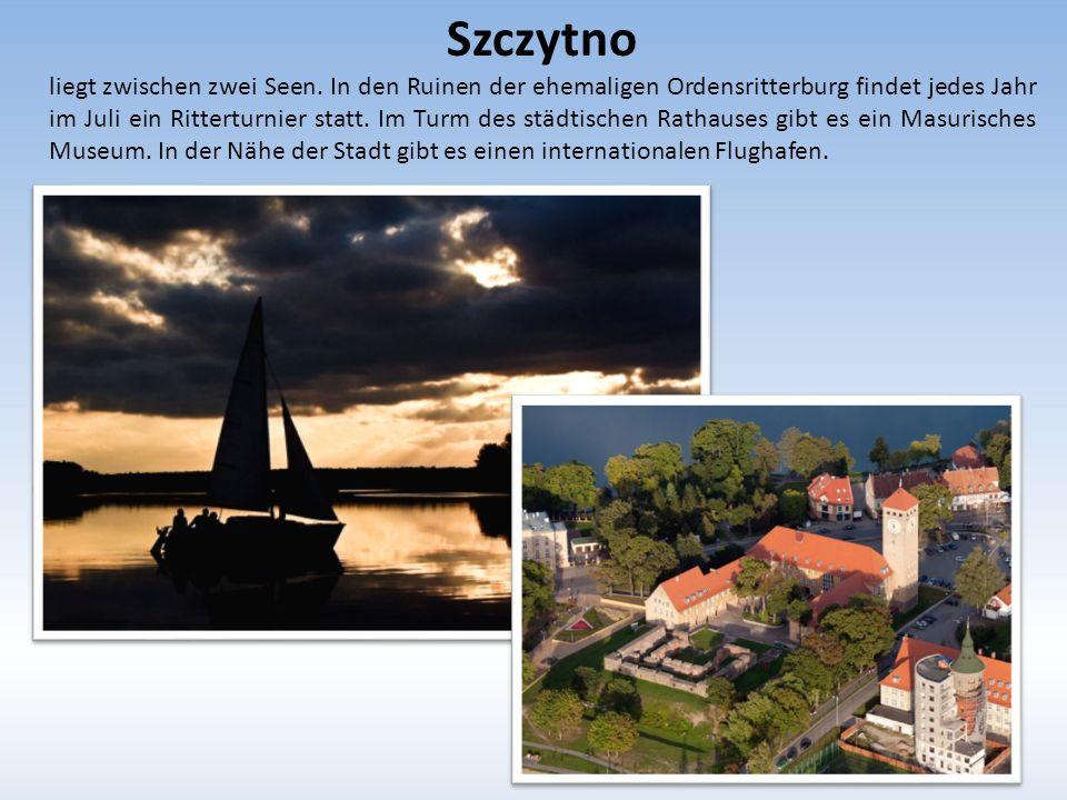 Szczytno liegt zwischen zwei Seen.