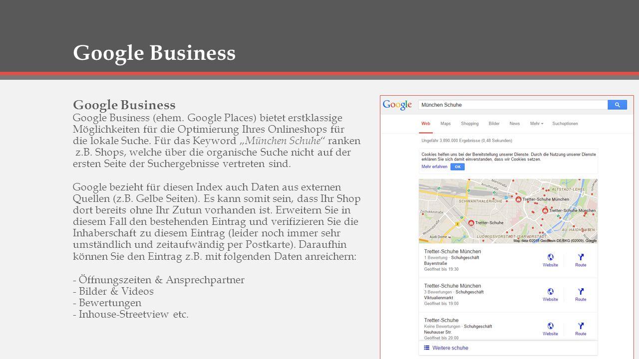 Google Adwords & PLA Google Adwords & Product Listing Ads (PLA) - Erforderlich zum Buchen von kostenpflichtigen Adwords Anzeigen im Google Werbenetzwerk - Erforderlich zum Schalten von Anzeigen in der Google-Produktsuche - Sehr gutes Tool zum Recherchieren von Keywords, CPC und Mitbewerberdichte - Datenabgleich mit Google-Analytics zur Erfolgskontrolle von Adwords und PLA Tipps: - Regelmäßige Erfolgskontrolle bei Adwords und PLA ist Pflicht.