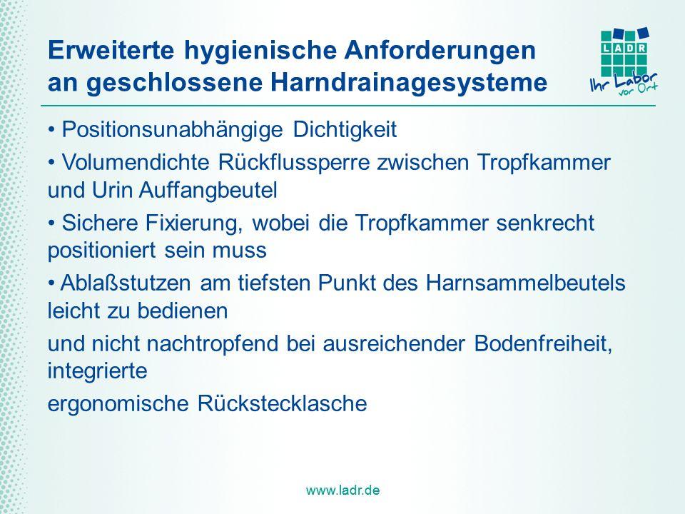 www.ladr.de Erweiterte hygienische Anforderungen an geschlossene Harndrainagesysteme Positionsunabhängige Dichtigkeit Volumendichte Rückflussperre zwi
