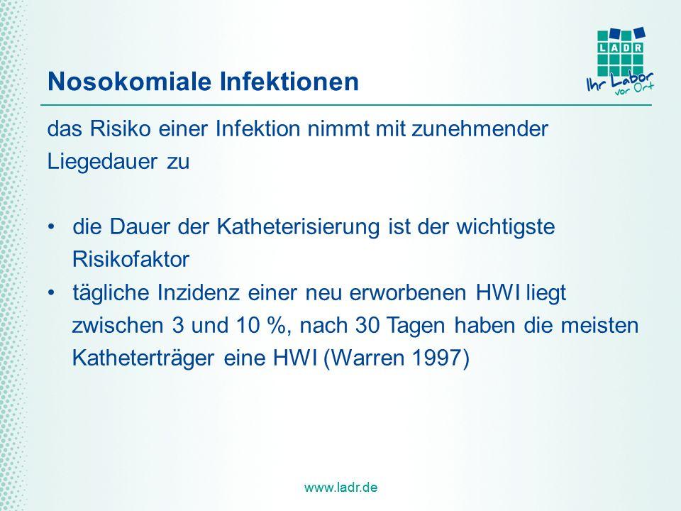 www.ladr.de Nosokomiale Infektionen das Risiko einer Infektion nimmt mit zunehmender Liegedauer zu die Dauer der Katheterisierung ist der wichtigste Risikofaktor tägliche Inzidenz einer neu erworbenen HWI liegt zwischen 3 und 10 %, nach 30 Tagen haben die meisten Katheterträger eine HWI (Warren 1997)