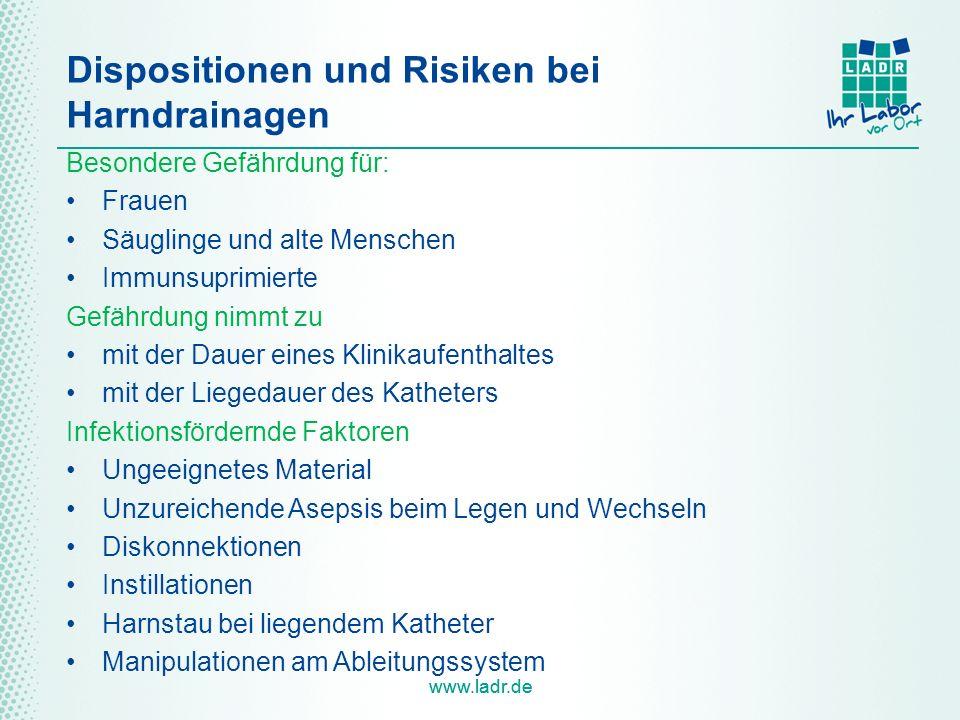 www.ladr.de Dispositionen und Risiken bei Harndrainagen Besondere Gefährdung für: Frauen Säuglinge und alte Menschen Immunsuprimierte Gefährdung nimmt