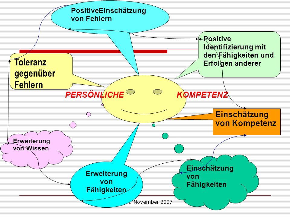 Stand November 2007 PERSÖNLICHE KOMPETENZ Toleranz gegenüber Fehlern PositiveEinschätzung von Fehlern Positive Identifizierung mit den Fähigkeiten und