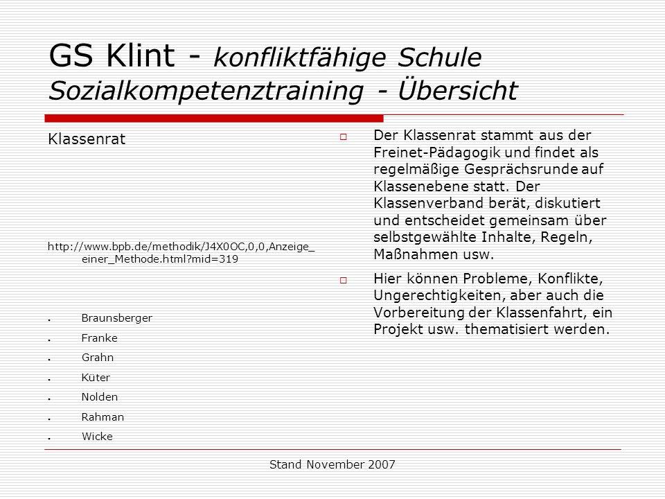 Stand November 2007 GS Klint - konfliktfähige Schule Sozialkompetenztraining - Übersicht Klassenrat http://www.bpb.de/methodik/J4X0OC,0,0,Anzeige_ ein
