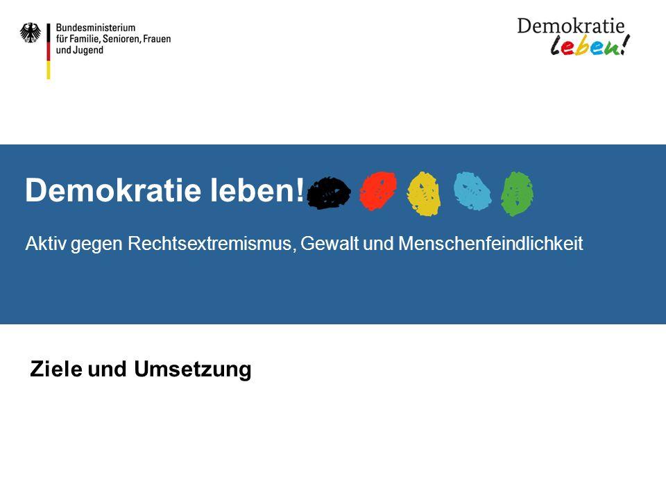 Demokratie leben! Aktiv gegen Rechtsextremismus, Gewalt und Menschenfeindlichkeit Ziele und Umsetzung