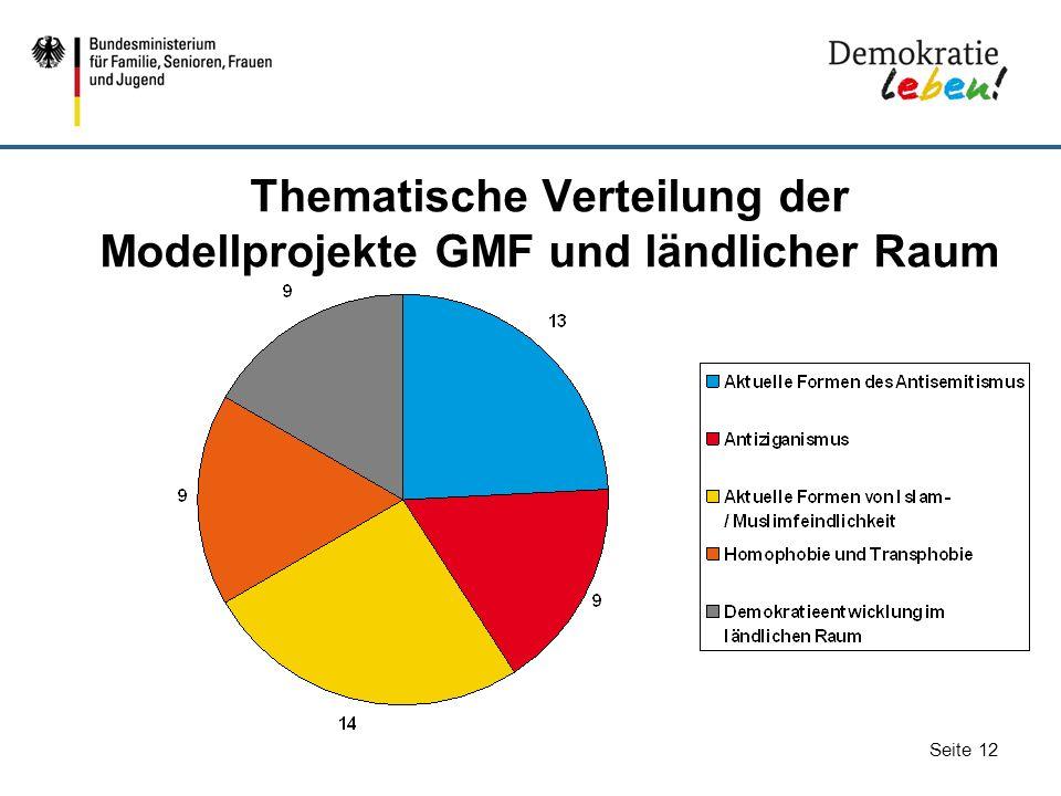 Seite 12 Thematische Verteilung der Modellprojekte GMF und ländlicher Raum