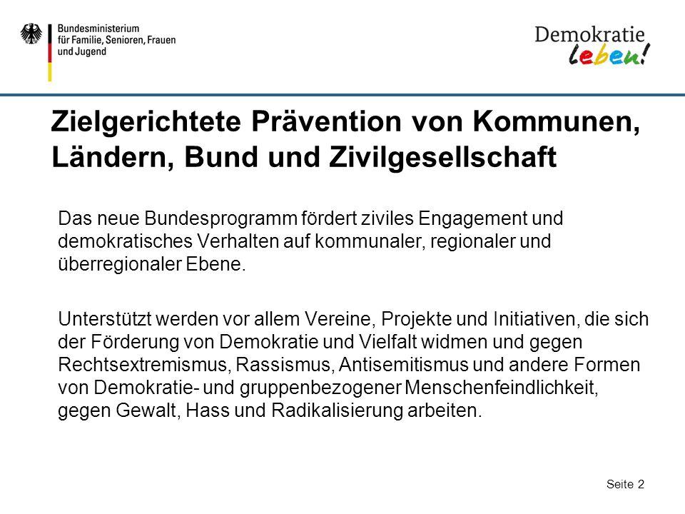 Seite 2 Zielgerichtete Prävention von Kommunen, Ländern, Bund und Zivilgesellschaft Das neue Bundesprogramm fördert ziviles Engagement und demokratisc