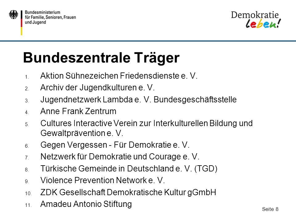 Seite 8 Bundeszentrale Träger 1. Aktion Sühnezeichen Friedensdienste e. V. 2. Archiv der Jugendkulturen e. V. 3. Jugendnetzwerk Lambda e. V. Bundesges