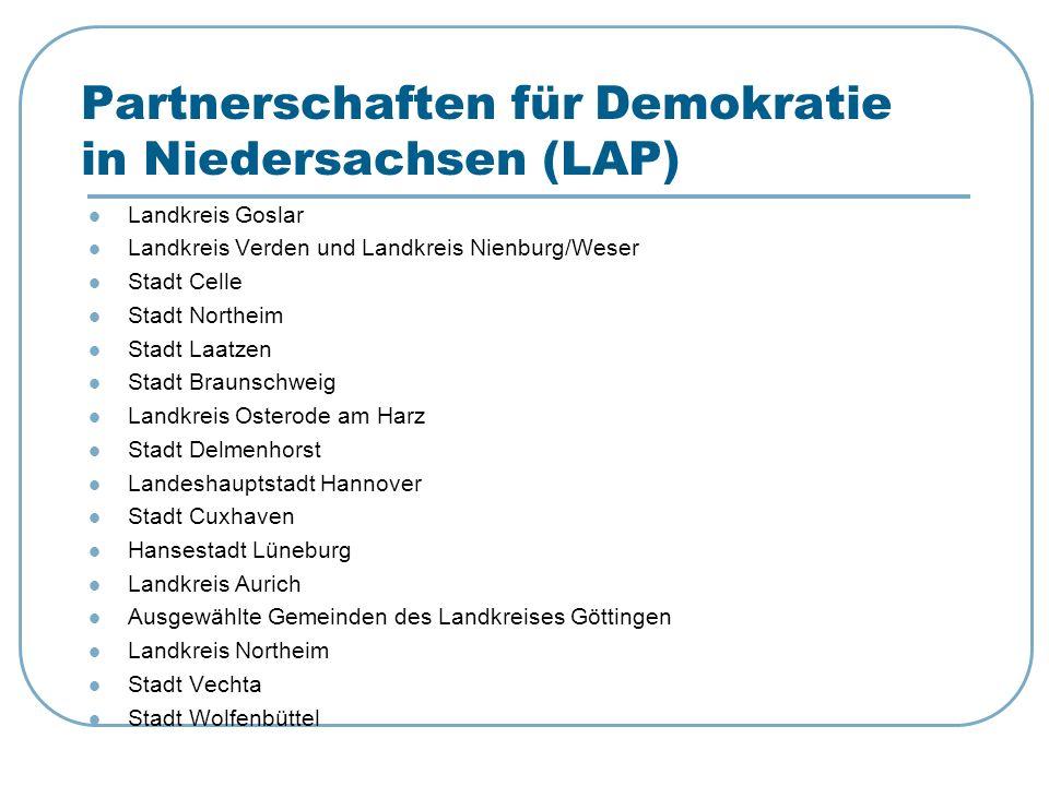 Partnerschaften für Demokratie in Niedersachsen (LAP) Landkreis Goslar Landkreis Verden und Landkreis Nienburg/Weser Stadt Celle Stadt Northeim Stadt