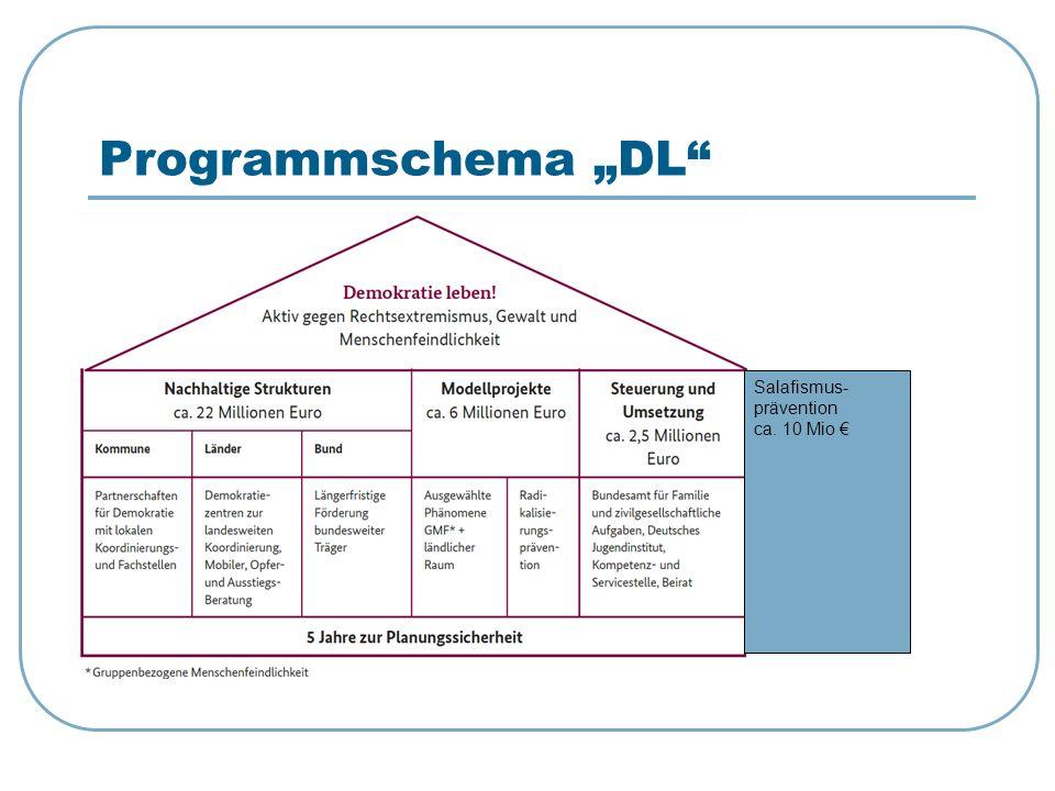 """Programmschema """"DL"""" Salafismus- prävention ca. 10 Mio €"""