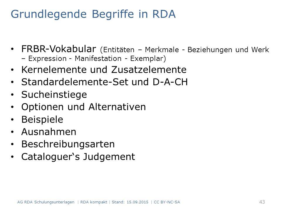 Grundlegende Begriffe in RDA FRBR-Vokabular (Entitäten – Merkmale - Beziehungen und Werk – Expression - Manifestation - Exemplar) Kernelemente und Zusatzelemente Standardelemente-Set und D-A-CH Sucheinstiege Optionen und Alternativen Beispiele Ausnahmen Beschreibungsarten Cataloguer's Judgement AG RDA Schulungsunterlagen | RDA kompakt | Stand: 15.09.2015 | CC BY-NC-SA 43