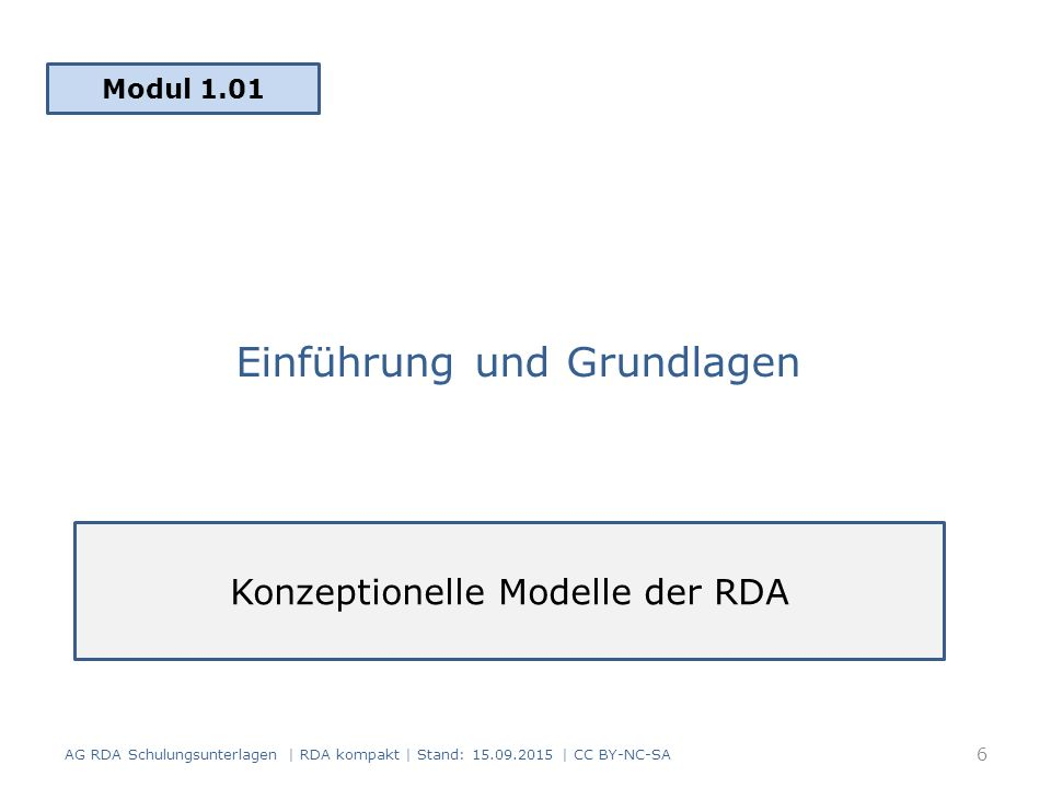 """Grundlagenmodell des Standards RDA Statement of International Cataloguing Principles (2009) Familie der """"Functional Requirements for Bibliographic Records (FRBR) (1998, 2008) for Authority Data (FRAD) (2009) for Subject Authority Data (FRSAD) (2010) AG RDA Schulungsunterlagen 