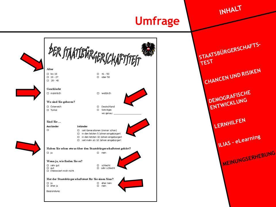 Umfrage INHALT STAATSBÜRGERSCHAFTS- TEST CHANCEN UND RISIKEN DEMOGRAFISCHE ENTWICKLUNG LERNHILFEN ILIAS - eLearning MEINUNGSERHEBUNG