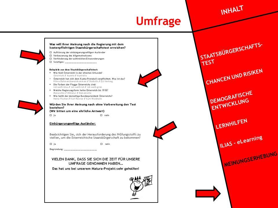 INHALT STAATSBÜRGERSCHAFTS- TEST CHANCEN UND RISIKEN DEMOGRAFISCHE ENTWICKLUNG LERNHILFEN ILIAS - eLearning MEINUNGSERHEBUNG Umfrage